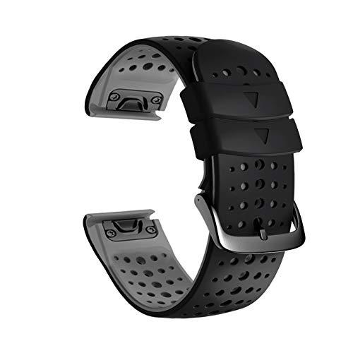 YOOSIDE Watch Strap for Fenix 6 Pro/Sapphire, QuickFit 22mm Silicone Soft Sport Waterproof Hypoallergenic Wrist Band for Garmin Fenix 5/5 Plus, Instinct/Instinct Tactical, Approach S62 (Black-Gray)