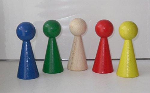 G&S 5 Figurenkegel , Spielfigur , Halmakegel Gigant aus Holz , 100 mm - 5 Farben gemischt