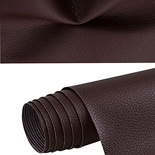Gudong - Parche de reparación de piel, un rollo de parche de piel autoadhesivo, reparación Kit primeros cuidados para sofá de asiento de coche, muebles, chaquetas, bolso de mano, 42 x 137 cm, Marrón