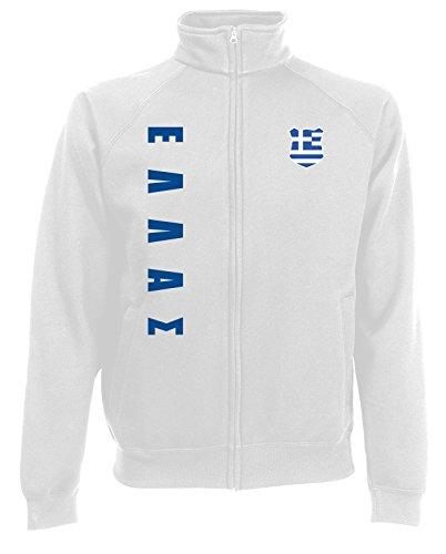 AkyTEX Griechenland Hellas EM-2020 Sweatjacke Wunschname Nummer Weiß S