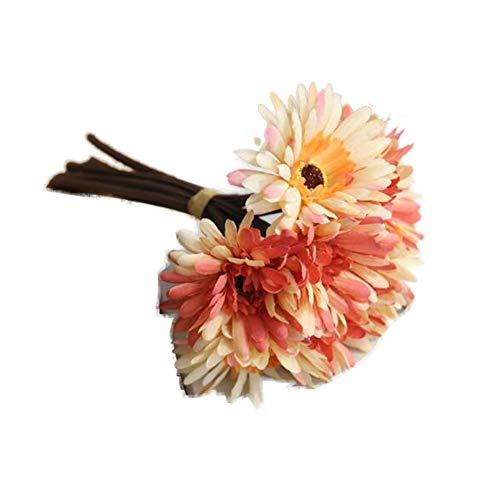 TELLW 1Bouquet Artificiel Simili FU Lang Bouquet Simulation Fleurs Chrysanthème Africain Faux Fleur Floral Maison de Mariage à la Main Tenant Fleurs, Soie, Orange, 1bunch,H:28CM,W:20CM