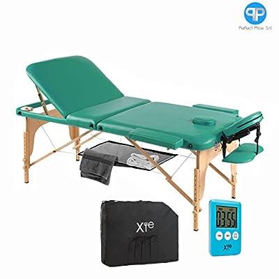 Camilla de masaje 3zonas madera portátil con Red y temporizador)