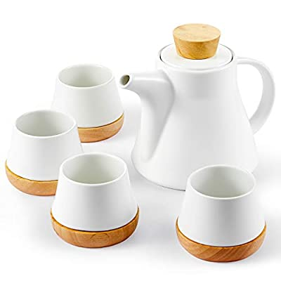 10-Piece Porcelain Ceramic Teapot Set with 4 Cups & 4 Wooden Coasters, Tea Set with Removable Stainless Steel Infuser for Loose Leaf & Blooming Tea, Gift Set, 750ml/25oz Teapot & 150ml/5oz Cups, White
