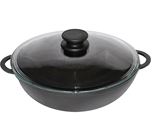 Gusseisen Wok Pfanne für gesundes Kochen 26 cm mit Deckel Induktion biol …