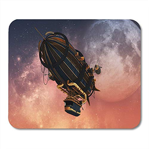 Semtomn Gaming Mouse Pad Luftschiff 3D-Computergrafik von Zeppelin im Steampunk-Stil Steam Punk Schiff Sky Decor Büro Computerzubehör Rutschfeste Gummiunterlage Mousepad Mouse Mat