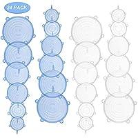 Humbgo Tapas de Silicona Reutilizables Elásticas - microondas de lavavajillas de Varios recipientes - Mantenga los Alimentos Frescos (Azul&Blanco, 24)