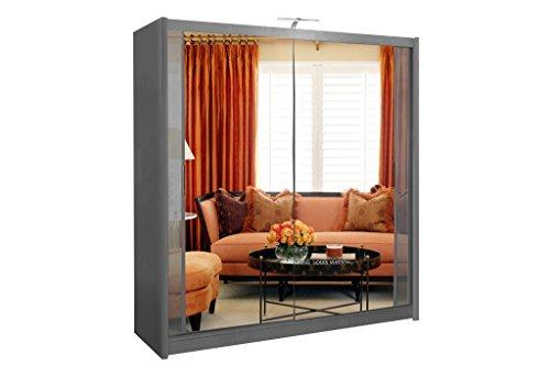 Sliding Wardrobe 4U Armario de 2 o 3 puertas correderas espejo Chicago con luz LED 90 cm/120 cm/150 cm/180 cm/203 cm/250 cm blanco-negro-gris-nogal-wenge-roak, Gris, 203cm