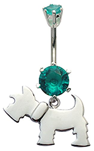 Silver dangly dog design belly button ring with CZ Aquamarine crystal - packed in a lovely velvet pouch
