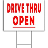 Large, 24x18' Drive Thru Open Business Plastic Yard Signage Great for Fast Food, Cafes, Restaurants, Deli, Pharmacy, Take-Out, Food Industry - Metal Stand Included, Made in America!