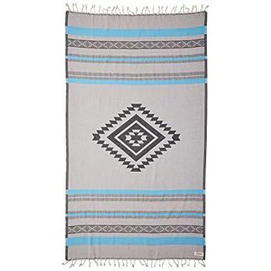 Bersuse 100% Organic Cotton Cancun Turkish Towel - 37X70 Inches, Aqua, 1 Piece