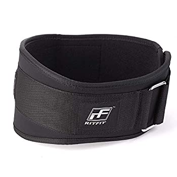 RitFit Weight Lifting Belt - Great for Squats Lunges Deadlift Thrusters - Men and Women - 6 Inch Black - Firm & Comfortable Lumbar Support with Back Injury Protection