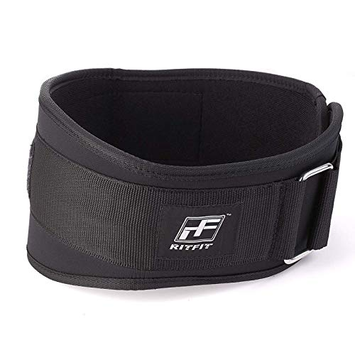 RitFit Weight Lifting Belt - Great for Squats, Lunges, Deadlift, Thrusters - Men and Women - 6 Inch Black - Firm & Comfortable Lumbar Support with Back Injury Protection