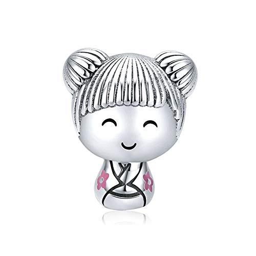 HMMJ Nette japanische Puppen-S925 Sterlingsilber-Korn-Anhänger DIY Perlen Schmuck Accessoires Kompatibel mit Pandora & European Armbänder Colliers