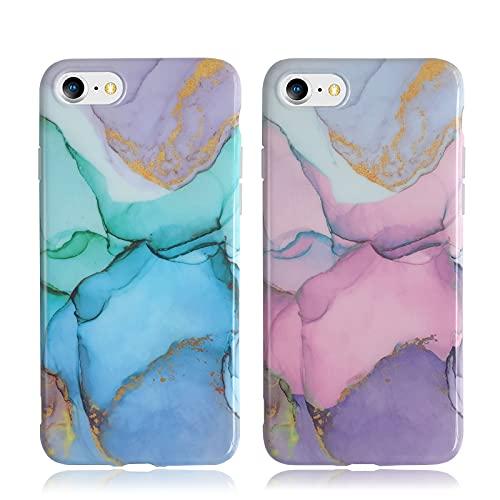 KARELIFE 2 Pack para iPhone SE 2020 Funda Mármol, iPhone 8/7 Carcasa Brillante de Silicona Fina y Suave TPU Funda Flexible Resistente a los Arañazos - Rosa y Violeta