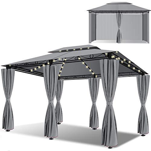 KESSER® - Pavillon 3x4m LED inkl. Seitenwände mit Reißverschlüsse, mit LED Beleuchtung + Solarmodul, Eckig Festzelt Partyzelt Gartenlaube Gartenzelt Luxus Gartenpavillon UV-Schutz 50+, Grau
