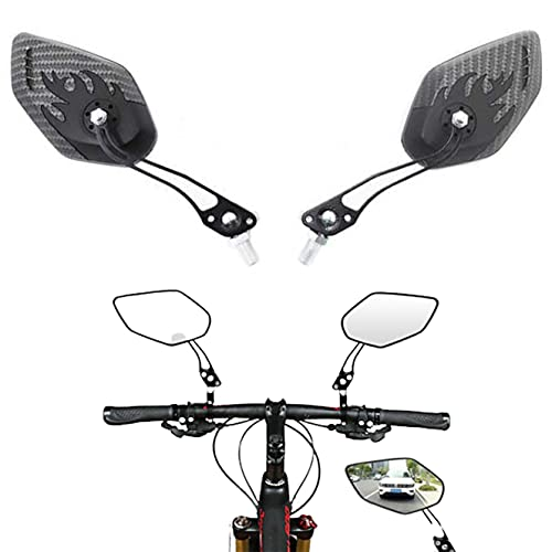 Espejo Retrovisor para Bicicleta, 2 Pcs Espejo Retorvisor Bicicleta Manillar Espejo de Bici Universal Ajustable 360°Espejo Ciclismo, para MTB Montaña Electrica Motó y Ciclomotor (1 Pair)