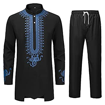YND Men's 2 Piece Dashiki Set African Long Sleeve Shirt and Pants Retro Afro Outfit with Tribal Gold Print Traditional Suit for Weddings and Ceremonies Black with Blue