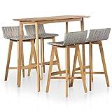 vidaXL <span class='highlight'>Outdoor</span> <span class='highlight'>Bar</span> <span class='highlight'>Set</span> 5 <span class='highlight'>Piece</span> Poly <span class='highlight'>Rattan</span> Solid Acacia Wood Patio Table Chair
