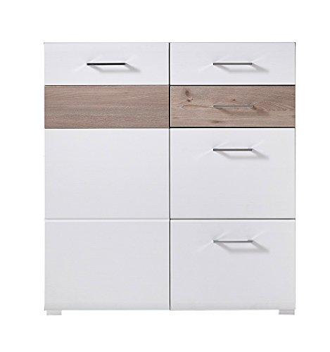 lifestyle4living Kommode in Silbereiche Nb. mit Fronten in weiß-Struktur, Absetzungen in Silbereiche Nb, 1 Tür und 4 Schubkästen, Maße: B/H/T ca. 96/104/40 cm