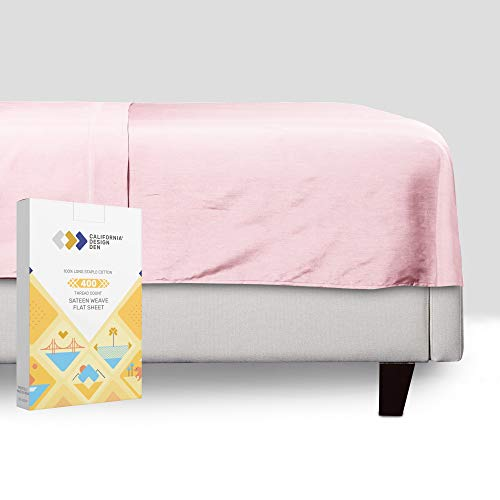 California Design Den Pink Flat Sheet - Queen Size 400 Thread Count Luxury Soft 100% Cotton Sateen...