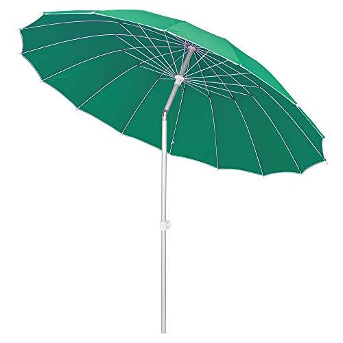 LOLAhome Parasol sombrilla Verde con Varillas Flexibles de Fibra de Carbono y mástil de Aluminio de Ø 250 cm