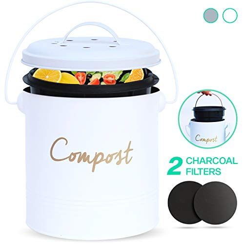 Check Out This COMPOST BIN - Stainless Steel Compost Bin for Kitchen Counter - with Inner Compost Bu...