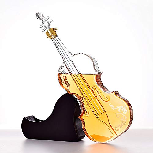 KPTKP 1000ml Decantador de violín con Base de Caoba, Libre de Plomo, Vidrio soplado a Mano, Amantes de la música Regalos para Whisky Gin Scotch Ron Vodka Vodka Brandy