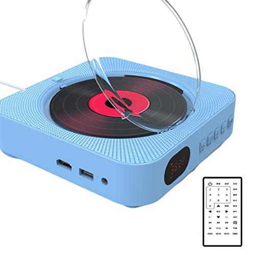 JFF Reproductor De CD/DVD Portátil USB con Bluetooth, Reproductor De Música De CD para Montar En La Pared, Radio FM/Entrada para Auriculares MP3 Salida AUX,Azul