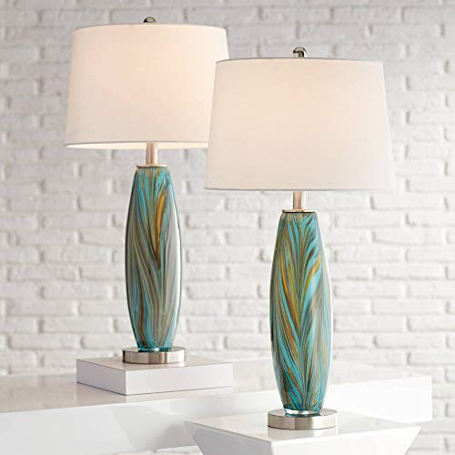 Azure Modern Contemporary Table Lamps Set of 2 Handcrafted Blue Brown Art Glass White Fabric Drum Shade Decor for Living Room Bedroom House Bedside Nightstand Home Office Family - 360 Lighting