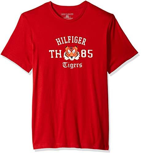 Tommy Hilfiger Herren 100% Cotton Graphic T-Shirt Pyjama-Oberteil (Top), Russet/der Tiger Logo, X-Groß