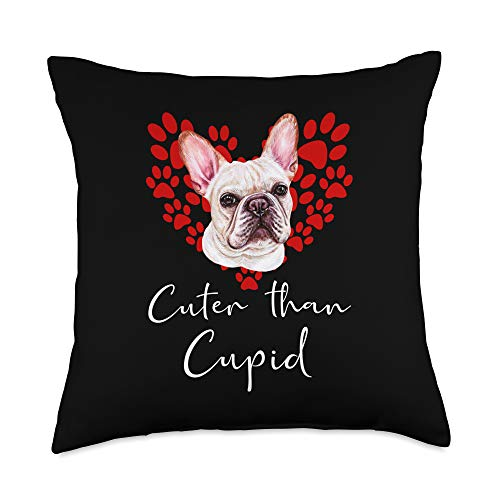 FRENCH BULLDOG Funny Dog Owner Gifts FRENCHIE Dog Cuter Than Cupid FRENCH BULLDOG Valentines Day Throw Pillow, 18x18, Multicolor