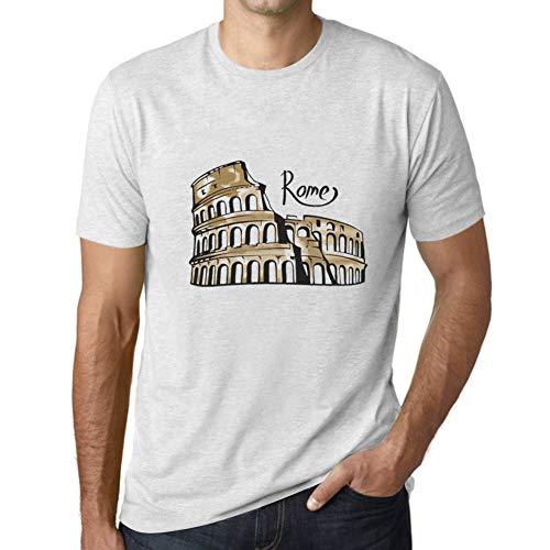 Ultrabasic - Hombre Camiseta Gráfico tee Shirt Rome Letras Impresas Blanco Moteado