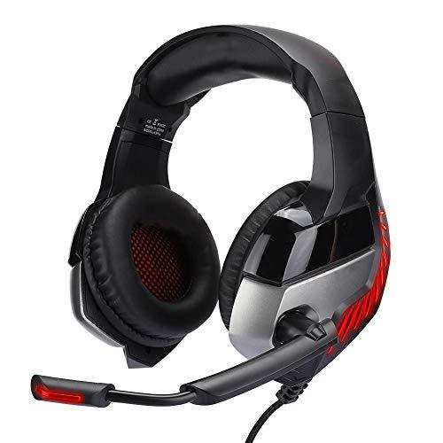 Op het hoofd gemonteerde gaming-headset, lichtgevende hoofdtelefoon met draad voor PS4, met comfortabele oorkappen en verstelbare hoofdband, ruisonderdrukkingsmicrofoon, met LED-lampje(Zwart rood)