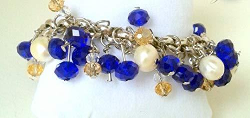 Pulsera de Zamak con Perlas y Bolas de Cristal Azul Oscuro, Dorado y Transparente. Moderna y Elegante, Regalos para Ella, Regalo Mujer