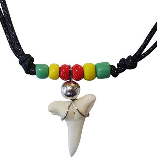 ELLU Imitation Resin Shark Tooth Necklace Pendant Chain Mens Womens Boys Girls Rasta Surfer Jewellery