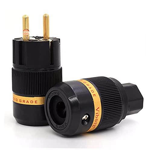 Spina Schuko Viborg 100% puro rame rosso+ connettore IEC 60320, placcato oro, per apparecchi hi-fi di fascia alta