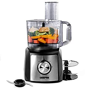 Geepas 1200W Compact Food Processor | Multifunctional Electric Chopper with Shredder & Grater Attachments | 1.2L Bowl Capacity | Stainless Steel & Dough Blades Included – 2 Years Warranty