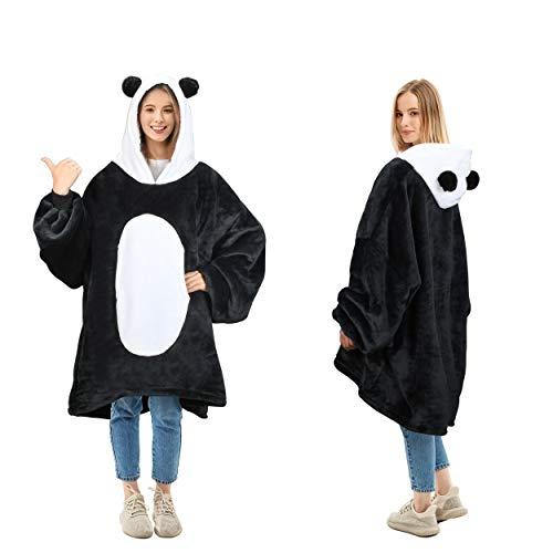 Oversized Blanket Sweatshirt, Super Soft Warm Cozy Wearable Sherpa Hoodie for Adults & Children, Reversible, Hood & Large Pocket, One Size, Black White