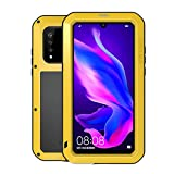 Huawei P30 Lite Case,Bpowe Armor Tank Aluminum Metal Gorilla Glass Shockproof Military Heavy Duty Sturdy Protector Cover Hard Case for Huawei P30 Lite (Yellow)