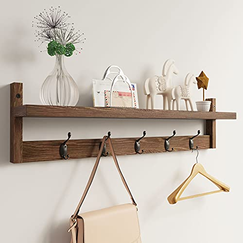 hanging shelf with hooks AMBIRD Wall Hooks with Shelf 28.9 Inch Length Entryway Wall Hanging Shelf Wood Coat Hooks for Wall with Shelf Wall-Mounted Coat Hook Rack with 5 Dual Hooks for Bathroom, Living Room, Bedroom (Brown )