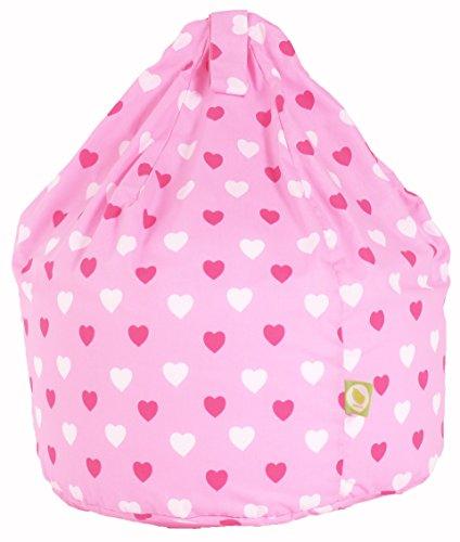 Cotton Pink Hearts Girls Bean Bag Child Size