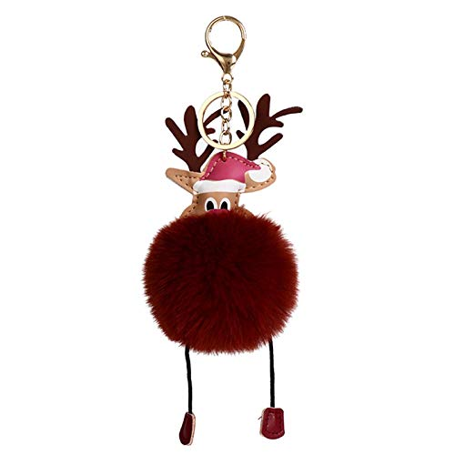Llavero de Navidad creativo renos llavero regalo bola clave lindo colgante baratija