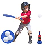 Vanmor Tee Ball Set Toy for Kids, Baseball Tee Game Includes Automatic Baseball Launcher with 3 Soft Balls and...