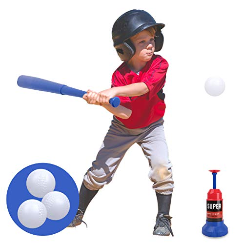 Vanmor Tee Ball Set Toy for Kids, Baseball Tee Game Includes Automatic Baseball Launcher with 3 Soft Balls and Stretchable Bat, Toddler Outdoor Toys for 3 4 5 6 Year Old Boys and Girls