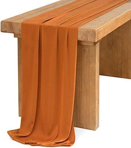 Ling s moment 10Ft Burnt Orange Terracotta Faux Velvety Table Runner for Wedding Rustic Fall product image