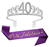 40th Silver Birthday Tiara and Sash, Glitter Satin Sash'40 & Fabulous' and Crystal Rhinestone Birthday Crown for Happy 40th Birthday Party Supplies Favors Decorations Cake Topper