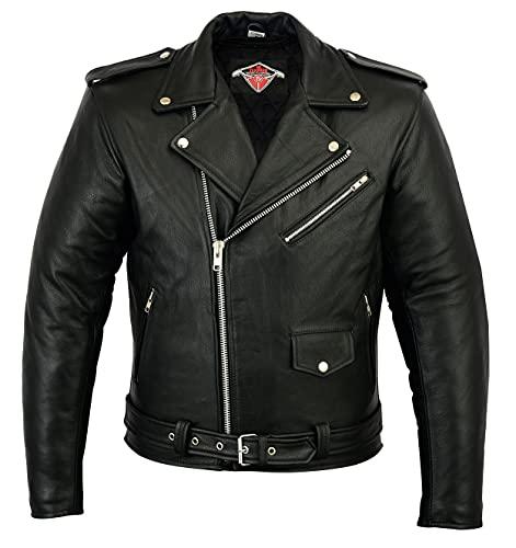Mens Leather Marlon Brando Motorcycle Jacket - Touring Motorbike Jacket...