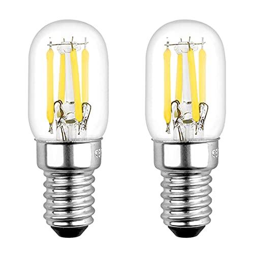 Lampadina LED E14 3W Luce Calda 2700K, T22 250LM, AC 220V, Equivalente a Incandescente 25W, E14 COB Vintage LED Piccola per Frigorifero/Luce Notturna Bambini, set di 2