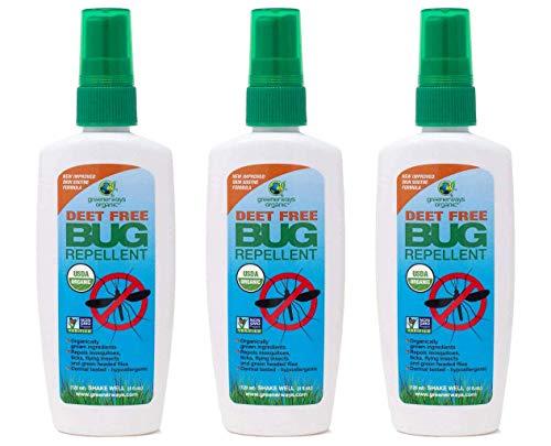 GREENERWAYS ORGANIC Insect Repellent, Premium, USDA Organic, Non-GMO, Natural, Mosquito-Repellent, Bug-Repellant, Best Natural Bug Spray, Travel Bug Repellent, Bug Spray 3-Pack (3) 4OZ - MSRP 29.97