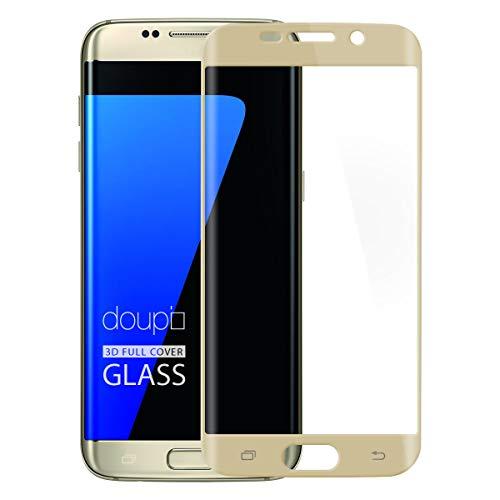 doupi FullCover Protection Ecran pour Samsung Galaxy S7 Edge, Prime Film en Verre Trempé 0.3mm 9H Ultra Résistant Protecteur, Couverture complète, Or